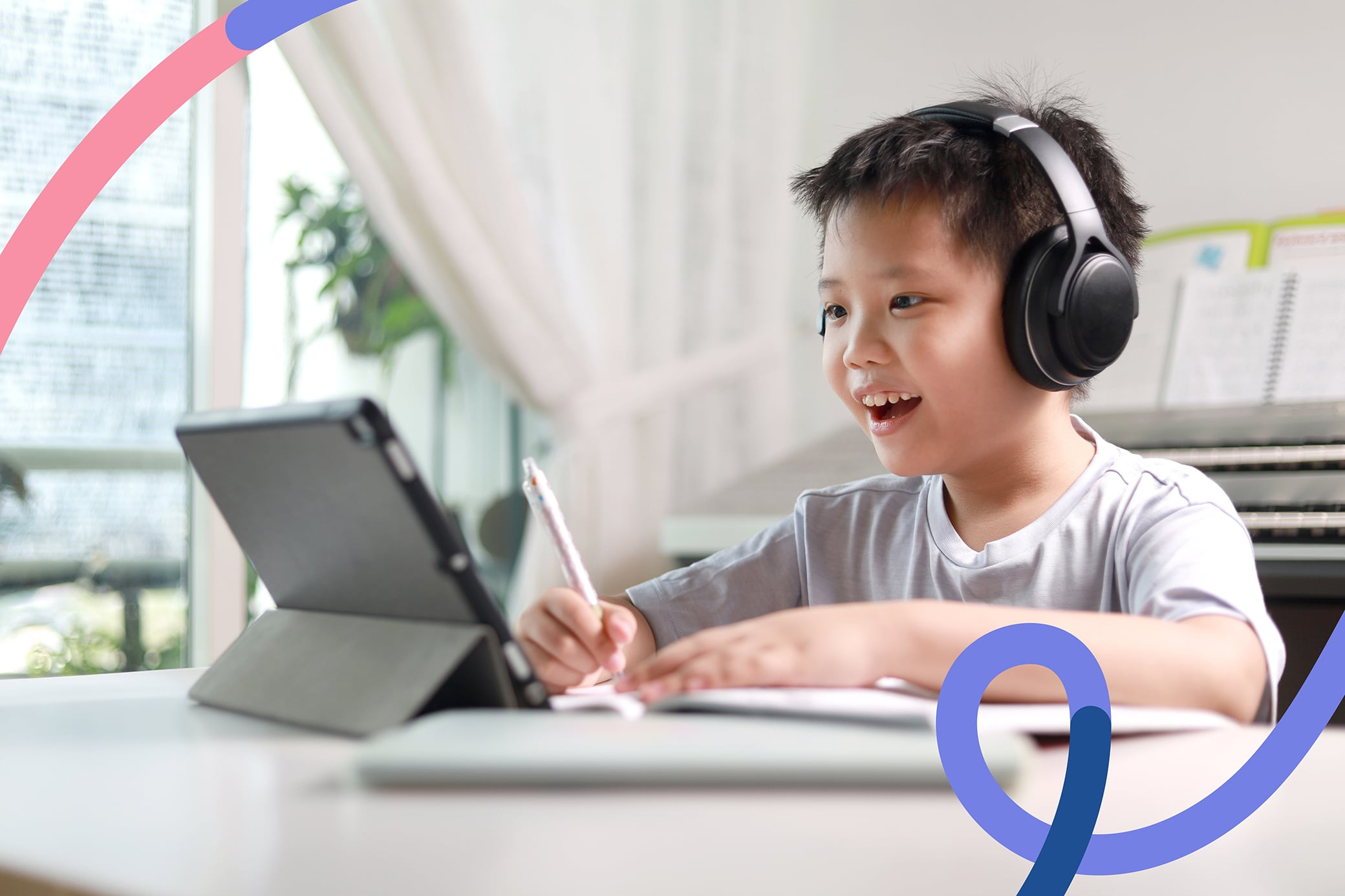 A boy engaging with his online Chinese class