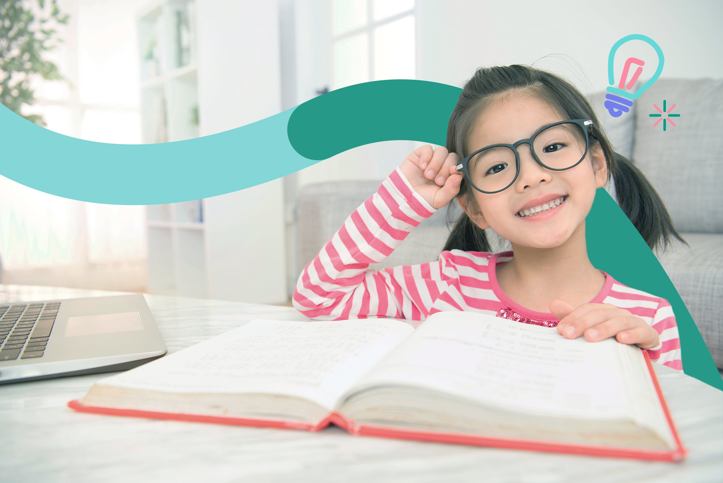 A bespectacled girl enjoys learning Chinese
