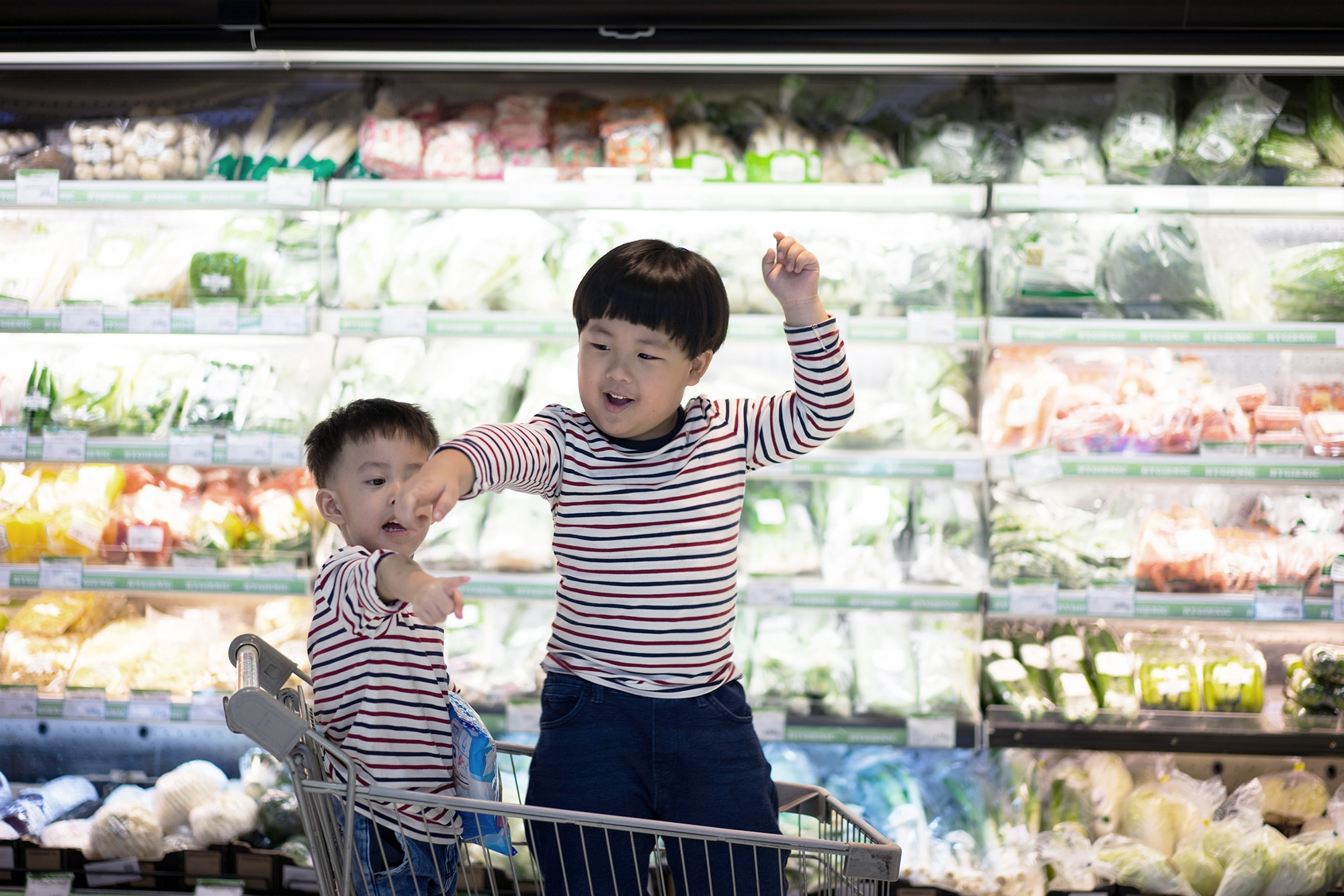 Two boys pointing their fingers at different directions during a grocery store trip