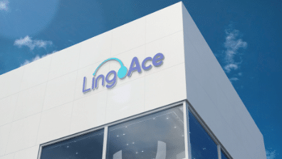 LingoAce logo on building